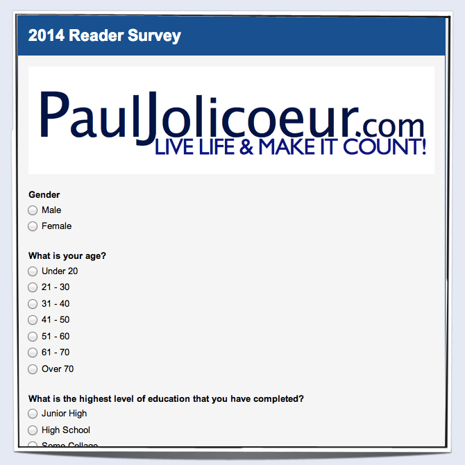 Please Take My 2014 Reader Survey